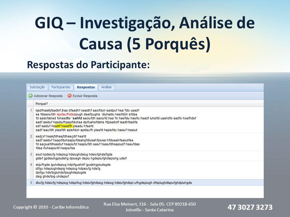 GIQ – Investigação, Análise de Causa (5 Porquês) Respostas do Participante: Copyright © 2010 - Caribe Informática Rua Elza Meinert, 116 - Sala 05. CEP