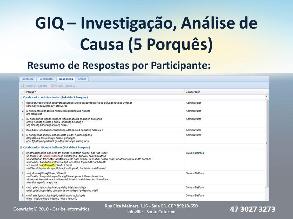 GIQ – Investigação, Análise de Causa (5 Porquês) Resumo de Respostas por Participante: Copyright © 2010 - Caribe Informática Rua Elza Meinert, 116 - Sala 05.