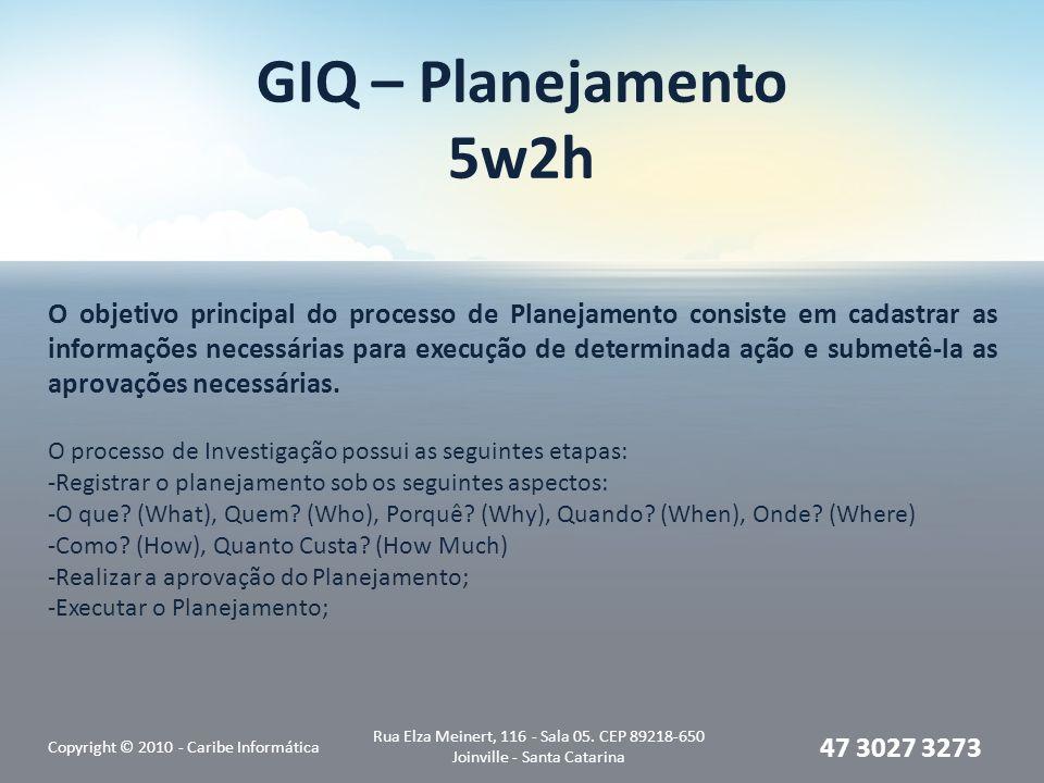 GIQ – Planejamento 5w2h Copyright © 2010 - Caribe Informática Rua Elza Meinert, 116 - Sala 05. CEP 89218-650 Joinville - Santa Catarina 47 3027 3273 O