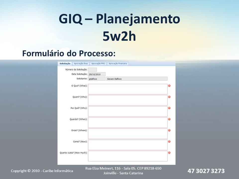 GIQ – Planejamento 5w2h Formulário do Processo: Copyright © 2010 - Caribe Informática Rua Elza Meinert, 116 - Sala 05. CEP 89218-650 Joinville - Santa
