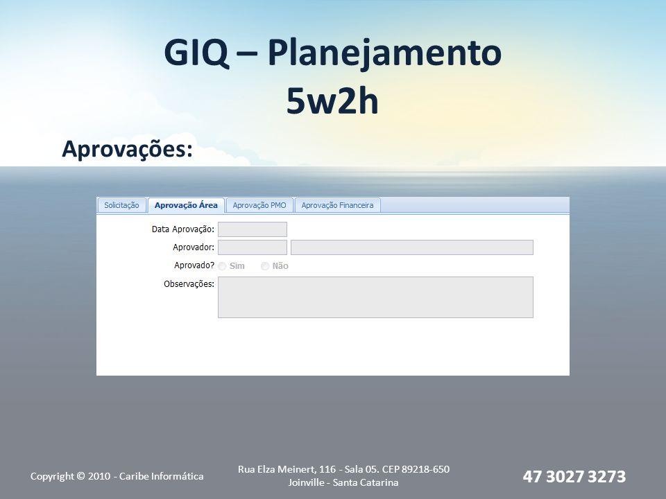 GIQ – Planejamento 5w2h Aprovações: Copyright © 2010 - Caribe Informática Rua Elza Meinert, 116 - Sala 05.