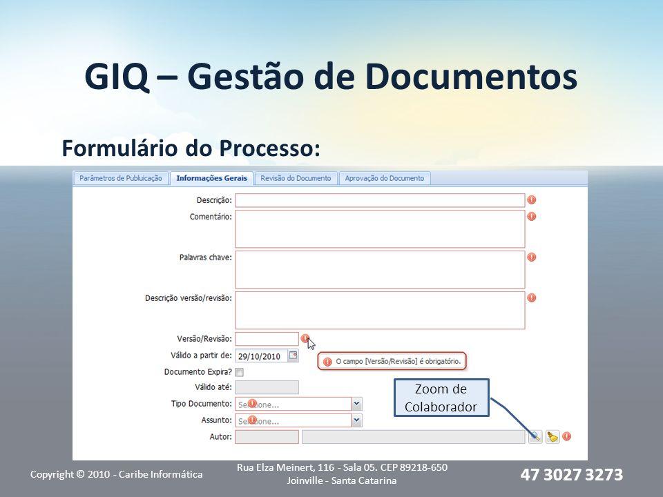 GIQ – Gestão de Documentos Formulário do Processo: Copyright © 2010 - Caribe Informática Rua Elza Meinert, 116 - Sala 05. CEP 89218-650 Joinville - Sa