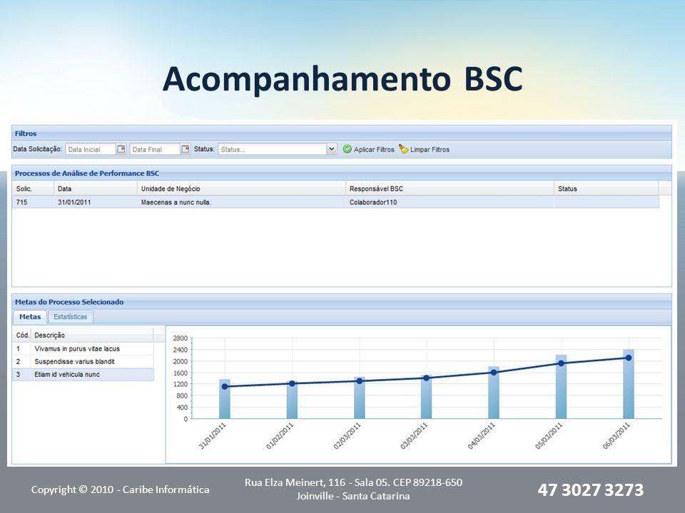 Acompanhamento BSC Copyright © 2010 - Caribe Informática Rua Elza Meinert, 116 - Sala 05. CEP 89218-650 Joinville - Santa Catarina 47 3027 3273