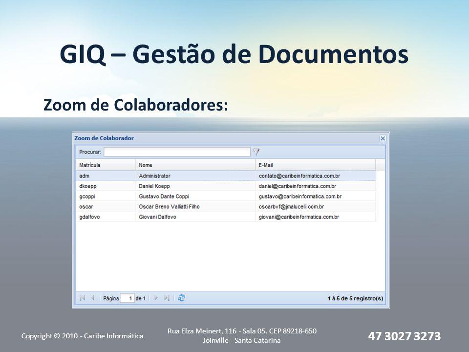 GIQ – Gestão de Documentos Zoom de Colaboradores: Copyright © 2010 - Caribe Informática Rua Elza Meinert, 116 - Sala 05.