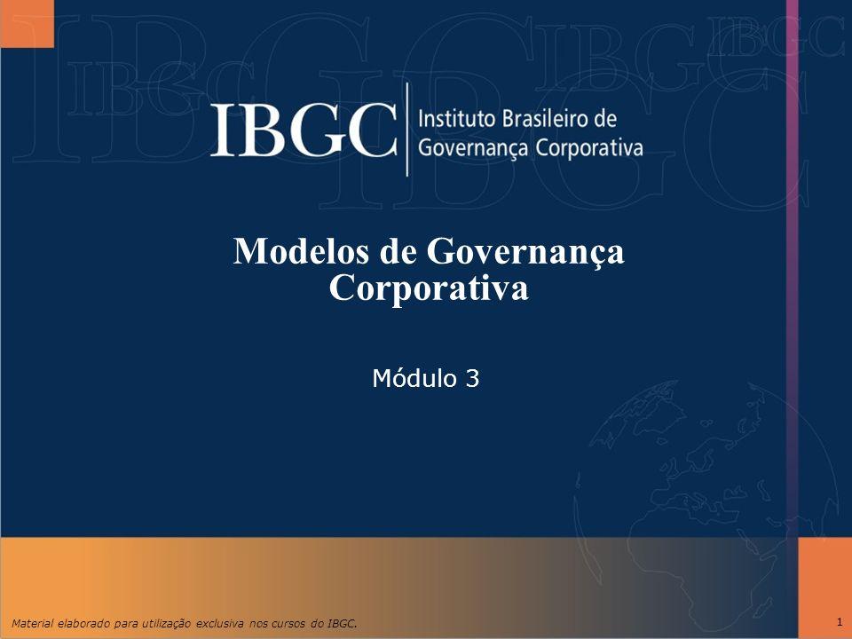 Material elaborado para utilização exclusiva nos cursos do IBGC. 1 Modelos de Governança Corporativa Módulo 3