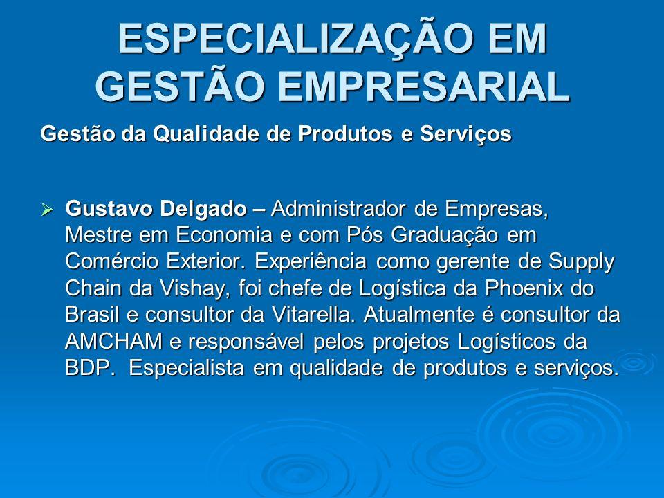 ESPECIALIZAÇÃO EM GESTÃO EMPRESARIAL Gestão da Qualidade de Produtos e Serviços Gustavo Delgado – Administrador de Empresas, Mestre em Economia e com