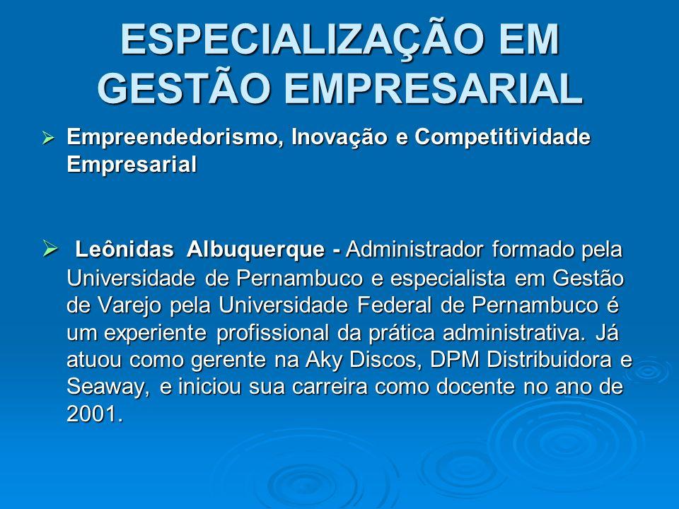 ESPECIALIZAÇÃO EM GESTÃO EMPRESARIAL Empreendedorismo, Inovação e Competitividade Empresarial Empreendedorismo, Inovação e Competitividade Empresarial