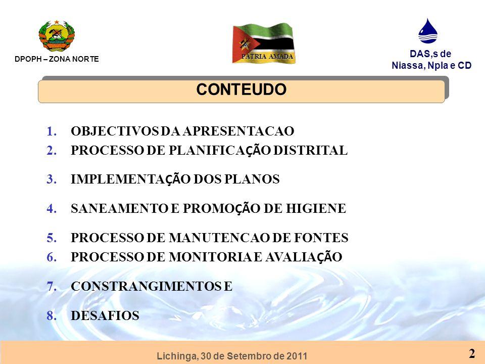 Lichinga, 30 de Setembro de 2011 DPOPH – ZONA NORTE DAS,s de Niassa, Npla e CD PÁTRIA AMADA 3 EXPERIÊNCIAS E LIÇÕES APRENDIDAS