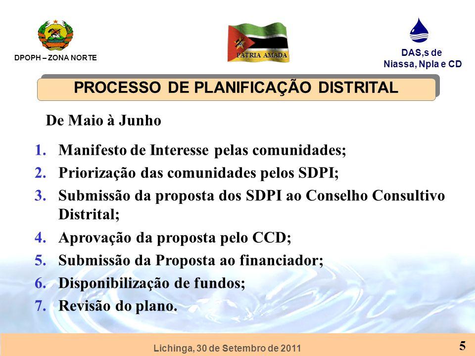 Lichinga, 30 de Setembro de 2011 DPOPH – ZONA NORTE DAS,s de Niassa, Npla e CD PÁTRIA AMADA 5 PROCESSO DE PLANIFICAÇÃO DISTRITAL 1.Manifesto de Interesse pelas comunidades; 2.Priorização das comunidades pelos SDPI; 3.Submissão da proposta dos SDPI ao Conselho Consultivo Distrital; 4.Aprovação da proposta pelo CCD; 5.Submissão da Proposta ao financiador; 6.Disponibilização de fundos; 7.Revisão do plano.