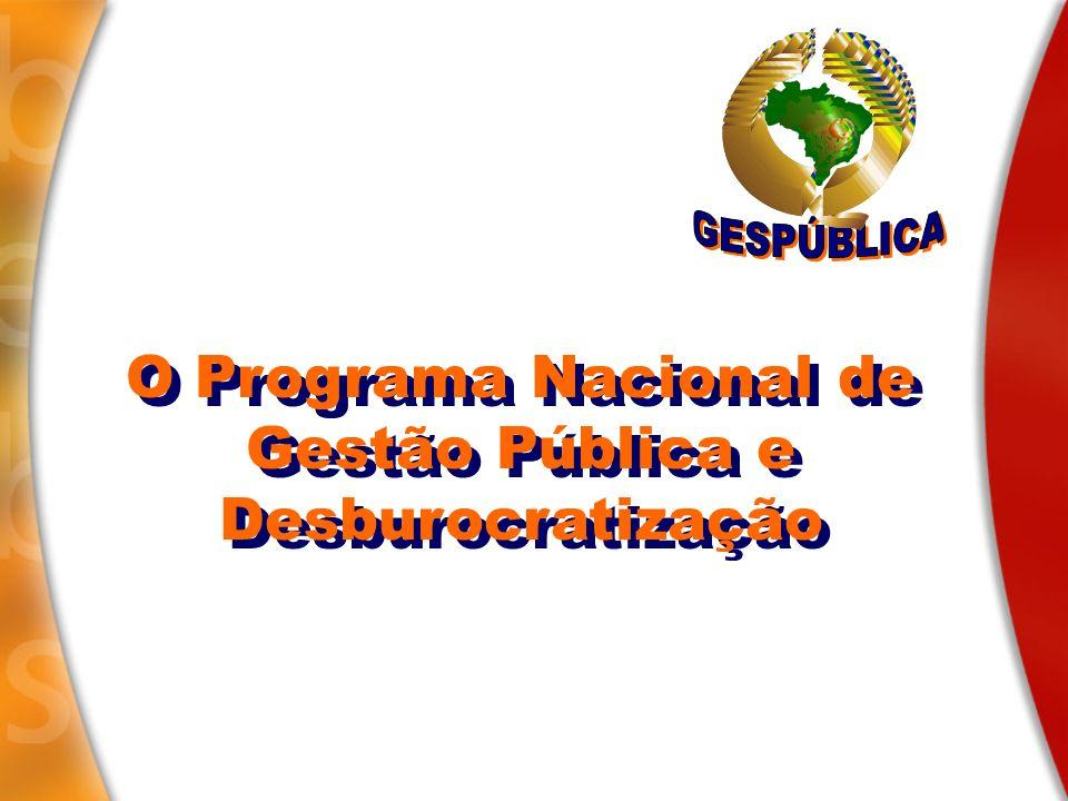 A gestão pública a serviço de todos os brasileiros Gestão pública e desburocratização: GESPÚBLICA PQGF 2006 Categorias: Administração direta; Fundação e autarquia; Empresas públicas e s ociedades de economia mista.