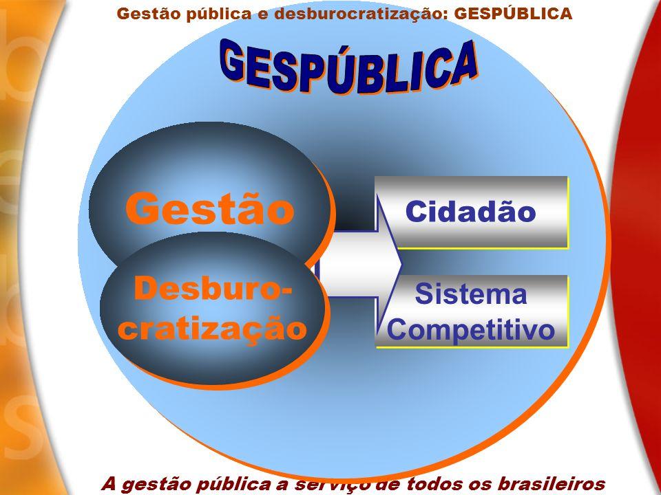 A gestão pública a serviço de todos os brasileiros Cidadão Sistema Competitivo Sistema Competitivo Gestão Desburo- cratização Desburo- cratização Gest