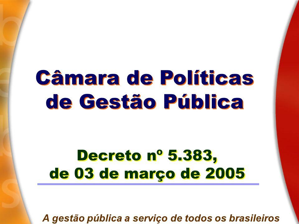 Câmara de Políticas de Gestão Pública Câmara de Políticas de Gestão Pública Decreto nº 5.383, de 03 de março de 2005 Decreto nº 5.383, de 03 de março