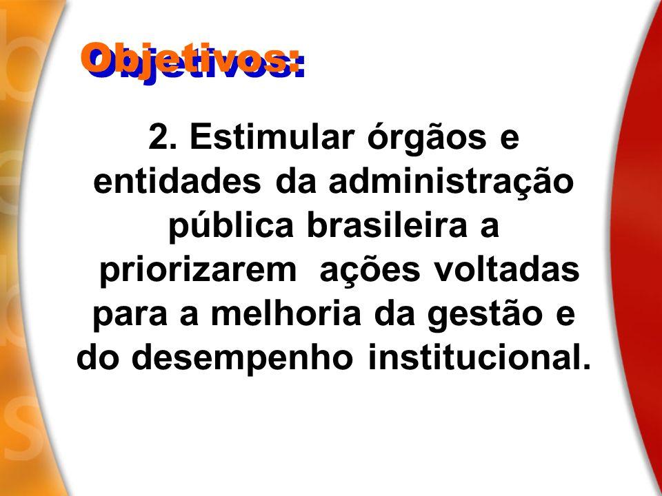 2. Estimular órgãos e entidades da administração pública brasileira a priorizarem ações voltadas para a melhoria da gestão e do desempenho institucion