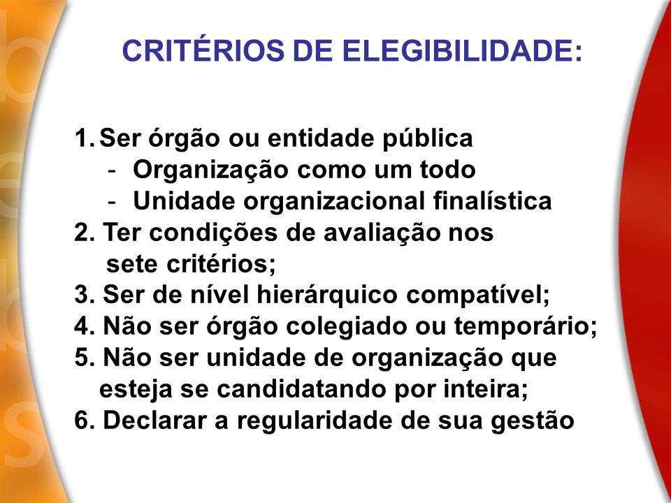 1.Ser órgão ou entidade pública -Organização como um todo -Unidade organizacional finalística 2. Ter condições de avaliação nos sete critérios; 3. Ser