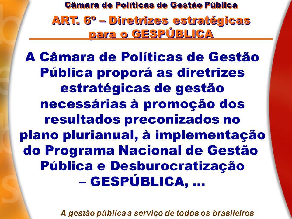 A Câmara de Políticas de Gestão Pública proporá as diretrizes estratégicas de gestão necessárias à promoção dos resultados preconizados no plano pluri