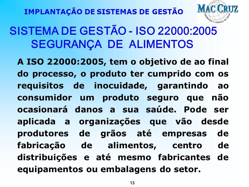 13 IMPLANTAÇÃO DE SISTEMAS DE GESTÃO A ISO 22000:2005, tem o objetivo de ao final do processo, o produto ter cumprido com os requisitos de inocuidade,