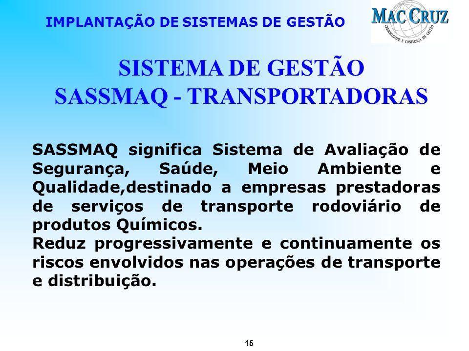 15 IMPLANTAÇÃO DE SISTEMAS DE GESTÃO SISTEMA DE GESTÃO SASSMAQ - TRANSPORTADORAS SASSMAQ significa Sistema de Avaliação de Segurança, Saúde, Meio Ambi