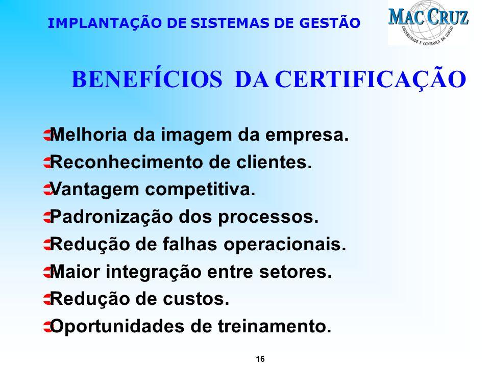 16 IMPLANTAÇÃO DE SISTEMAS DE GESTÃO BENEFÍCIOS DA CERTIFICAÇÃO Melhoria da imagem da empresa. Reconhecimento de clientes. Vantagem competitiva. Padro