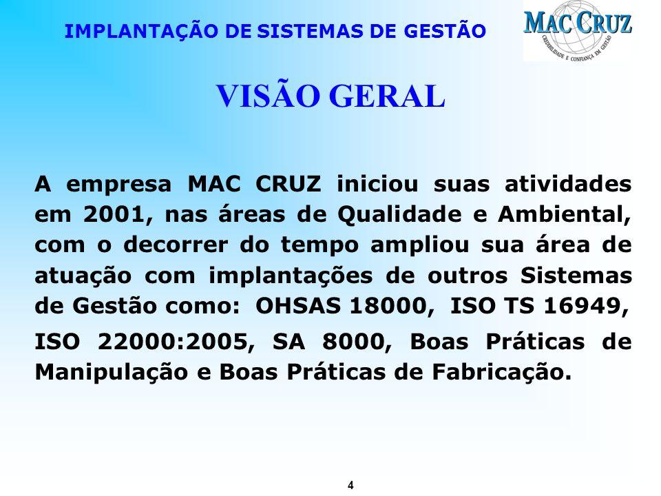 4 IMPLANTAÇÃO DE SISTEMAS DE GESTÃO VISÃO GERAL A empresa MAC CRUZ iniciou suas atividades em 2001, nas áreas de Qualidade e Ambiental, com o decorrer