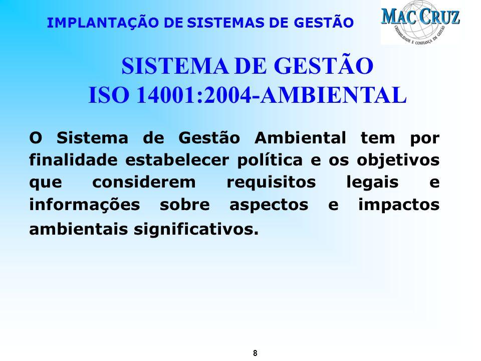 8 IMPLANTAÇÃO DE SISTEMAS DE GESTÃO SISTEMA DE GESTÃO ISO 14001:2004-AMBIENTAL O Sistema de Gestão Ambiental tem por finalidade estabelecer política e