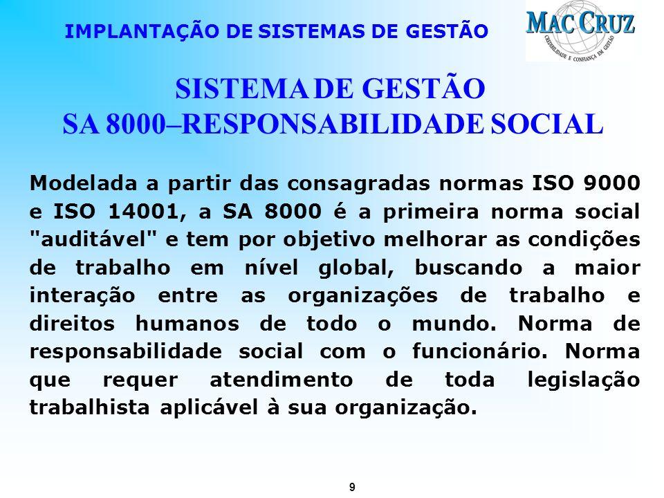9 IMPLANTAÇÃO DE SISTEMAS DE GESTÃO SISTEMA DE GESTÃO SA 8000–RESPONSABILIDADE SOCIAL Modelada a partir das consagradas normas ISO 9000 e ISO 14001, a