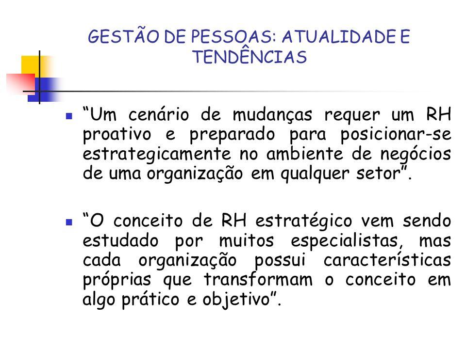 GESTÃO DE PESSOAS: ATUALIDADE E TENDÊNCIAS A estrutura organizacional de RH; O impacto da Globalização dos negócios em RH; Tendências Futuras para RH; Processo de Trabalho Estratégico para RH; Competências necessárias para os profissionais de RH.