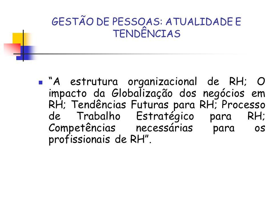 GESTÃO DE PESSOAS: ATUALIDADE E TENDÊNCIAS A estrutura organizacional de RH; O impacto da Globalização dos negócios em RH; Tendências Futuras para RH;