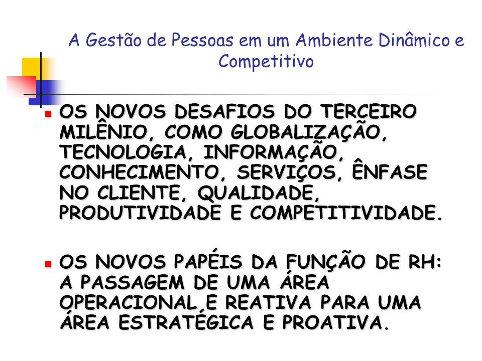 A Gestão de Pessoas em um Ambiente Dinâmico e Competitivo OS NOVOS DESAFIOS DO TERCEIRO MILÊNIO, COMO GLOBALIZAÇÃO, TECNOLOGIA, INFORMAÇÃO, CONHECIMEN