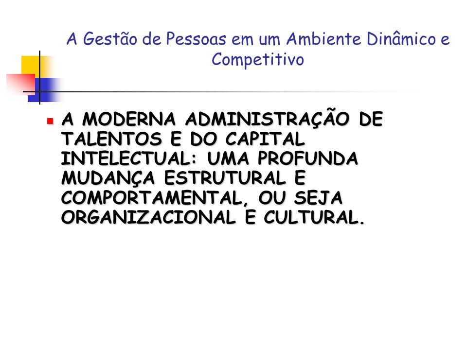 A Gestão de Pessoas em um Ambiente Dinâmico e Competitivo A MODERNA ADMINISTRAÇÃO DE TALENTOS E DO CAPITAL INTELECTUAL: UMA PROFUNDA MUDANÇA ESTRUTURA