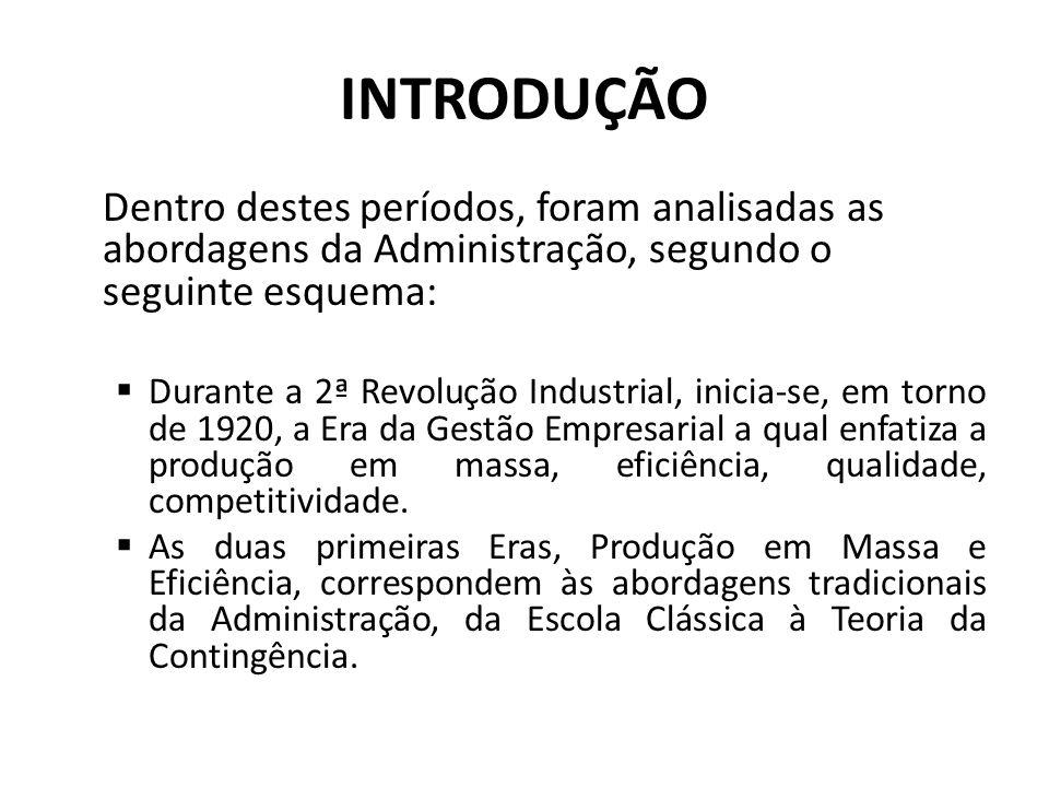 INTRODUÇÃO Dentro destes períodos, foram analisadas as abordagens da Administração, segundo o seguinte esquema: Durante a 2ª Revolução Industrial, ini