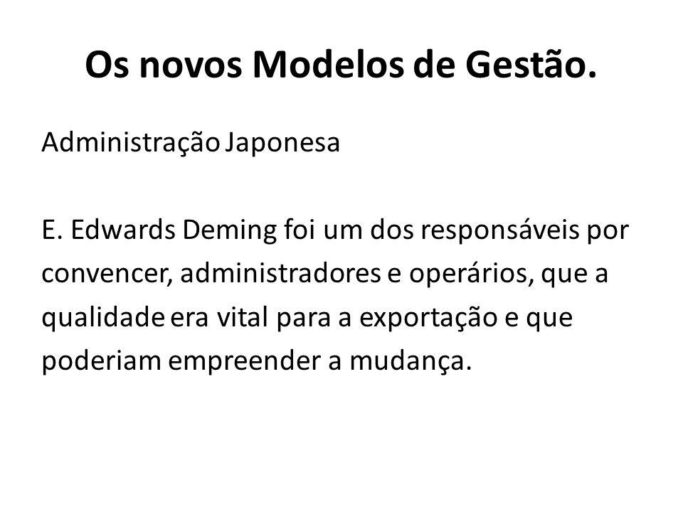 Administração Japonesa E. Edwards Deming foi um dos responsáveis por convencer, administradores e operários, que a qualidade era vital para a exportaç