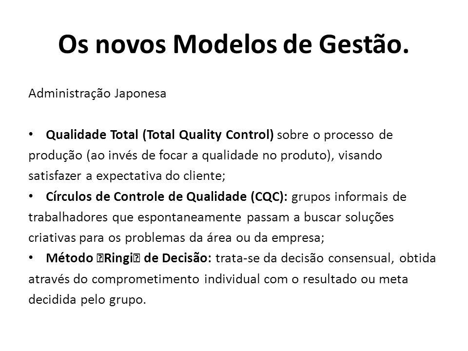 Administração Japonesa Qualidade Total (Total Quality Control) sobre o processo de produção (ao invés de focar a qualidade no produto), visando satisf