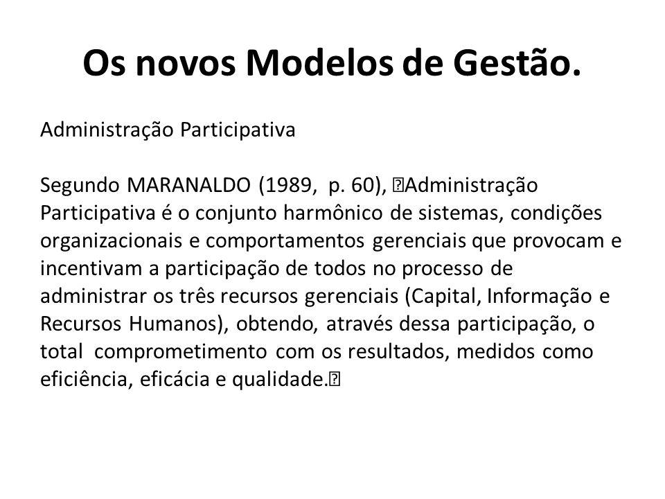 """Administração Participativa Segundo MARANALDO (1989, p. 60), """"Administração Participativa é o conjunto harmônico de sistemas, condições organizacionai"""