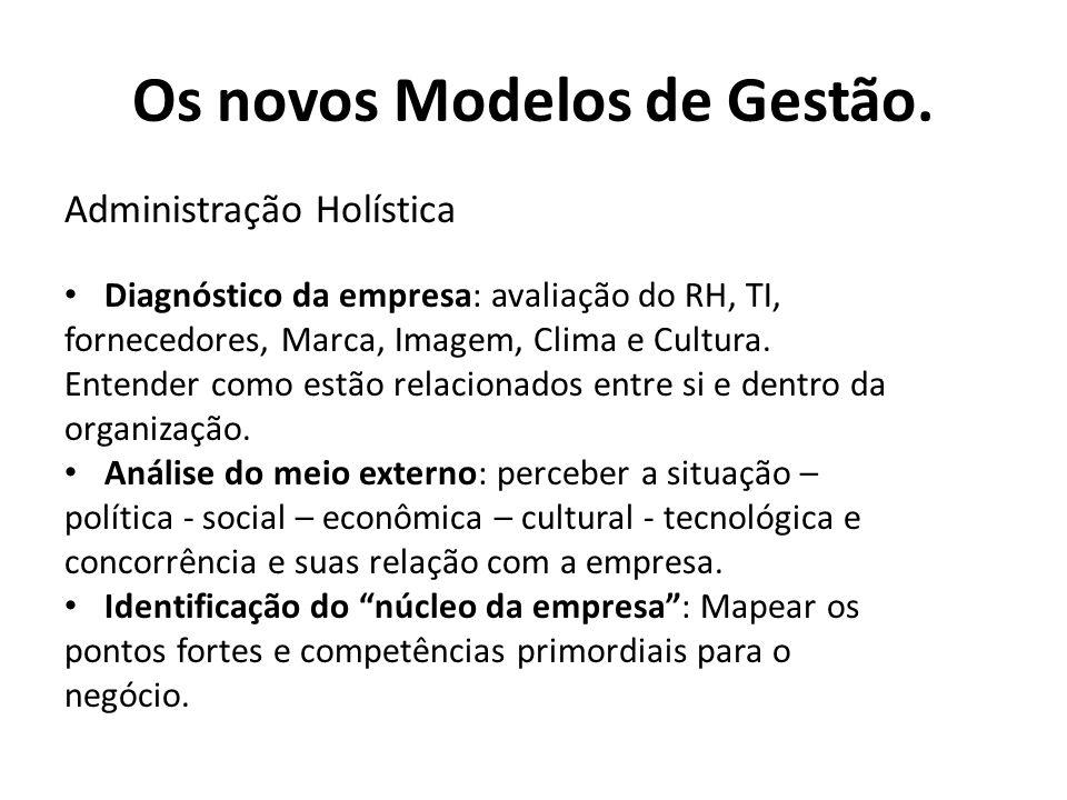Administração Holística Diagnóstico da empresa: avaliação do RH, TI, fornecedores, Marca, Imagem, Clima e Cultura.