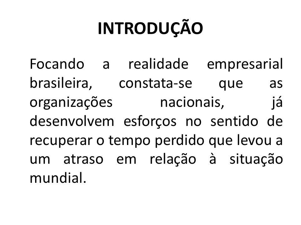 INTRODUÇÃO Focando a realidade empresarial brasileira, constata-se que as organizações nacionais, já desenvolvem esforços no sentido de recuperar o tempo perdido que levou a um atraso em relação à situação mundial.