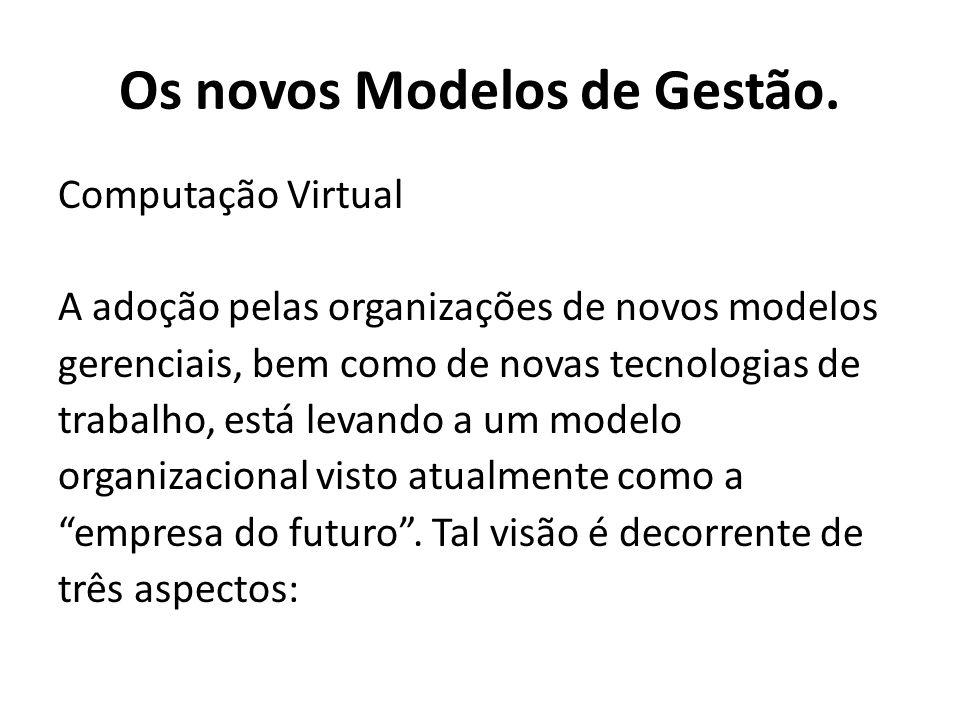 Computação Virtual A adoção pelas organizações de novos modelos gerenciais, bem como de novas tecnologias de trabalho, está levando a um modelo organizacional visto atualmente como a empresa do futuro.