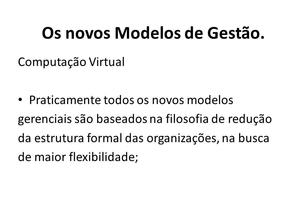 Computação Virtual Praticamente todos os novos modelos gerenciais são baseados na filosofia de redução da estrutura formal das organizações, na busca de maior flexibilidade; Os novos Modelos de Gestão.