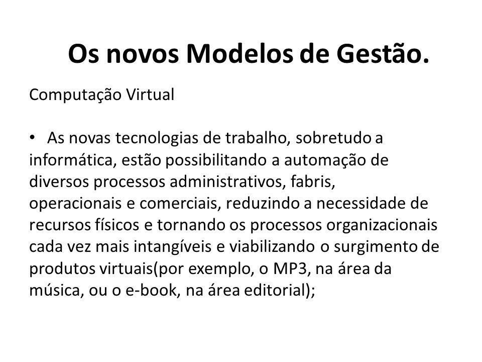 Computação Virtual As novas tecnologias de trabalho, sobretudo a informática, estão possibilitando a automação de diversos processos administrativos,