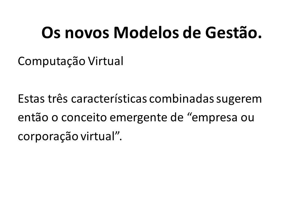 Computação Virtual Estas três características combinadas sugerem então o conceito emergente de empresa ou corporação virtual. Os novos Modelos de Gest