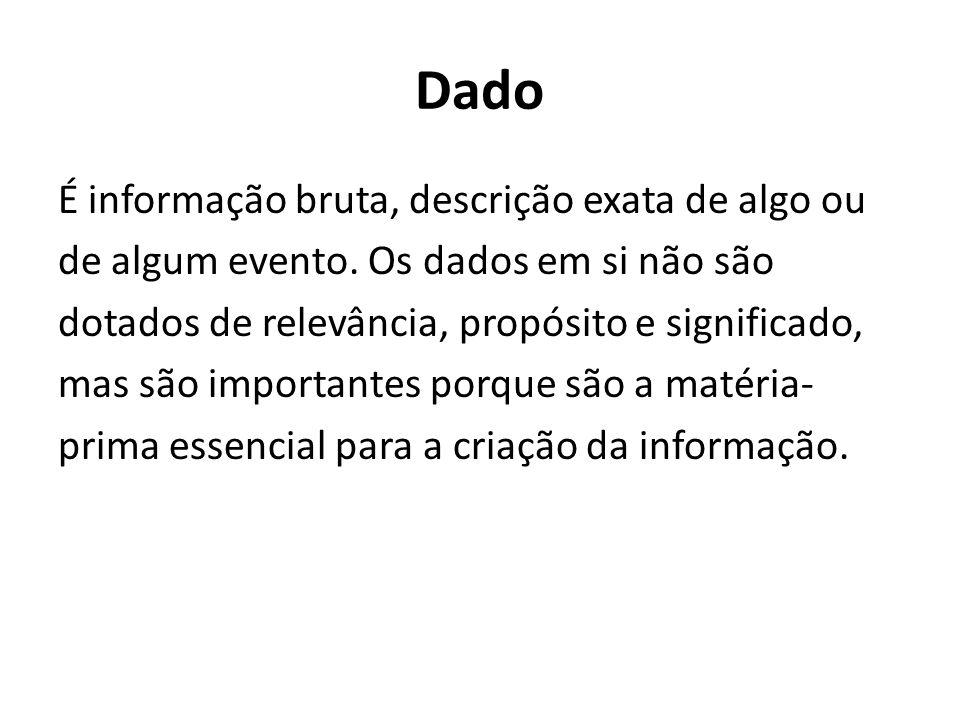 Dado É informação bruta, descrição exata de algo ou de algum evento.