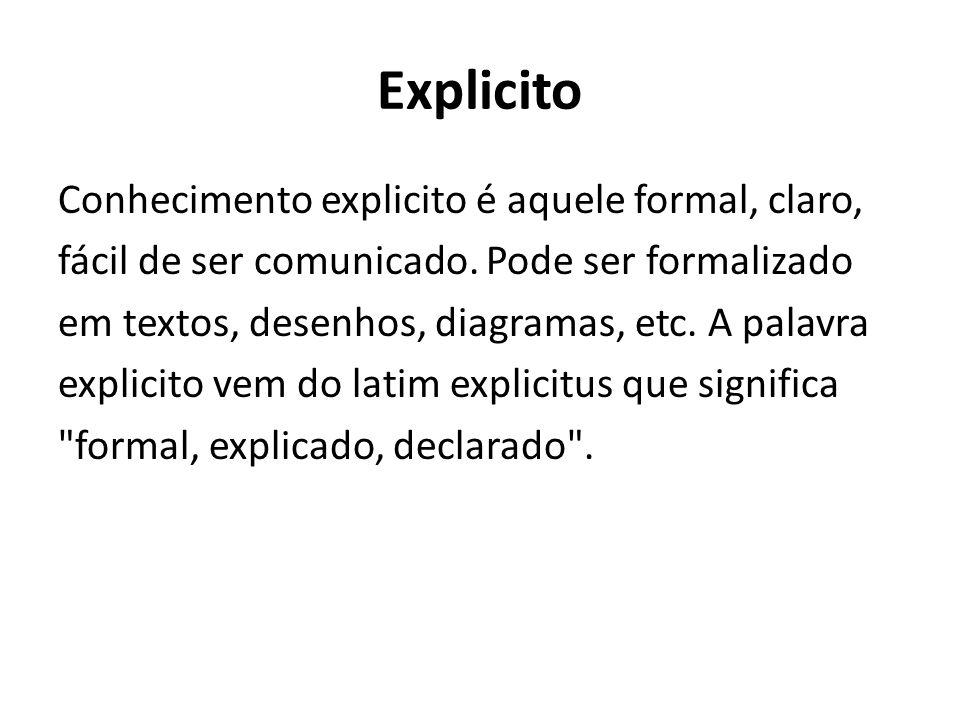 Explicito Conhecimento explicito é aquele formal, claro, fácil de ser comunicado. Pode ser formalizado em textos, desenhos, diagramas, etc. A palavra