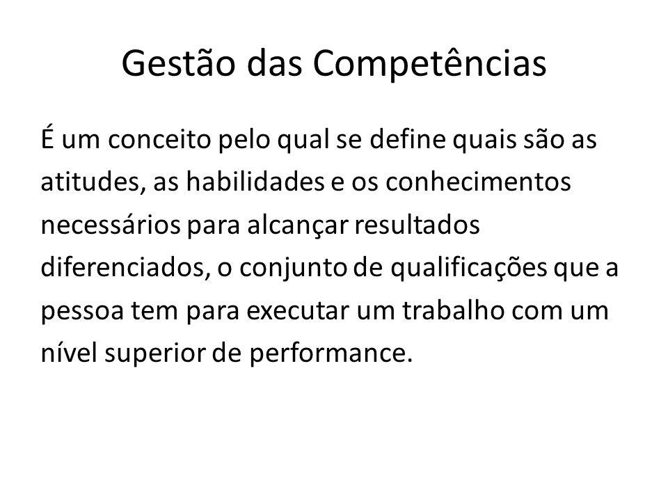 Gestão das Competências É um conceito pelo qual se define quais são as atitudes, as habilidades e os conhecimentos necessários para alcançar resultados diferenciados, o conjunto de qualificações que a pessoa tem para executar um trabalho com um nível superior de performance.