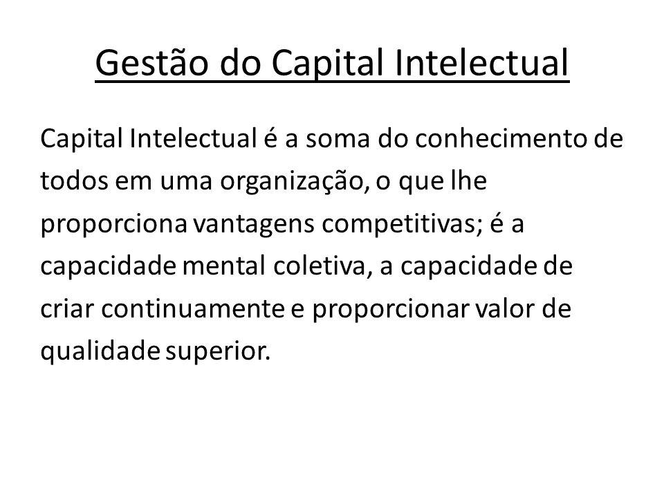 Gestão do Capital Intelectual Capital Intelectual é a soma do conhecimento de todos em uma organização, o que lhe proporciona vantagens competitivas; é a capacidade mental coletiva, a capacidade de criar continuamente e proporcionar valor de qualidade superior.