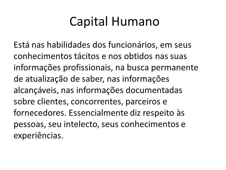 Capital Humano Está nas habilidades dos funcionários, em seus conhecimentos tácitos e nos obtidos nas suas informações profissionais, na busca permane