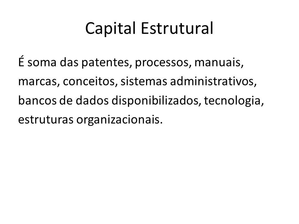 Capital Estrutural É soma das patentes, processos, manuais, marcas, conceitos, sistemas administrativos, bancos de dados disponibilizados, tecnologia, estruturas organizacionais.