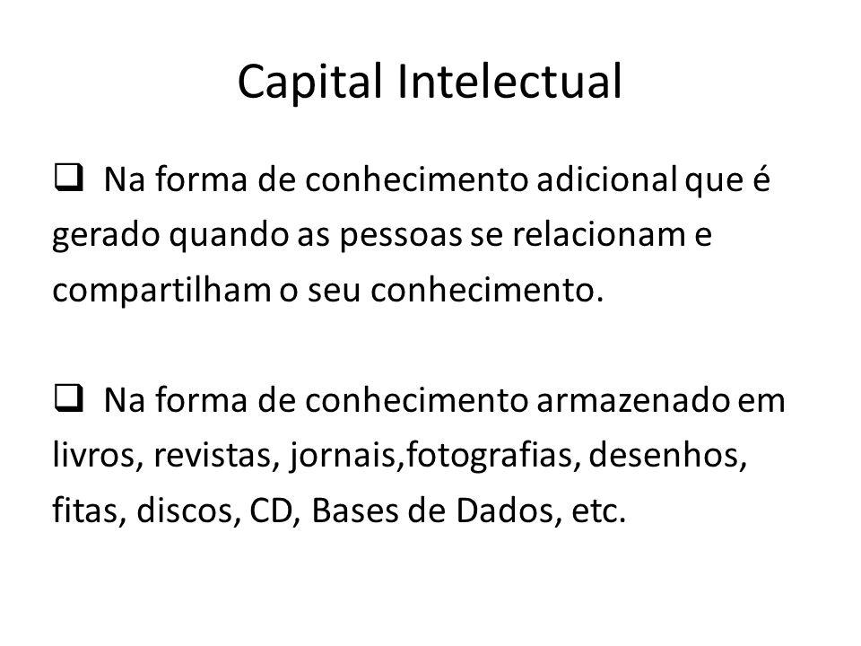Capital Intelectual Na forma de conhecimento adicional que é gerado quando as pessoas se relacionam e compartilham o seu conhecimento. Na forma de con