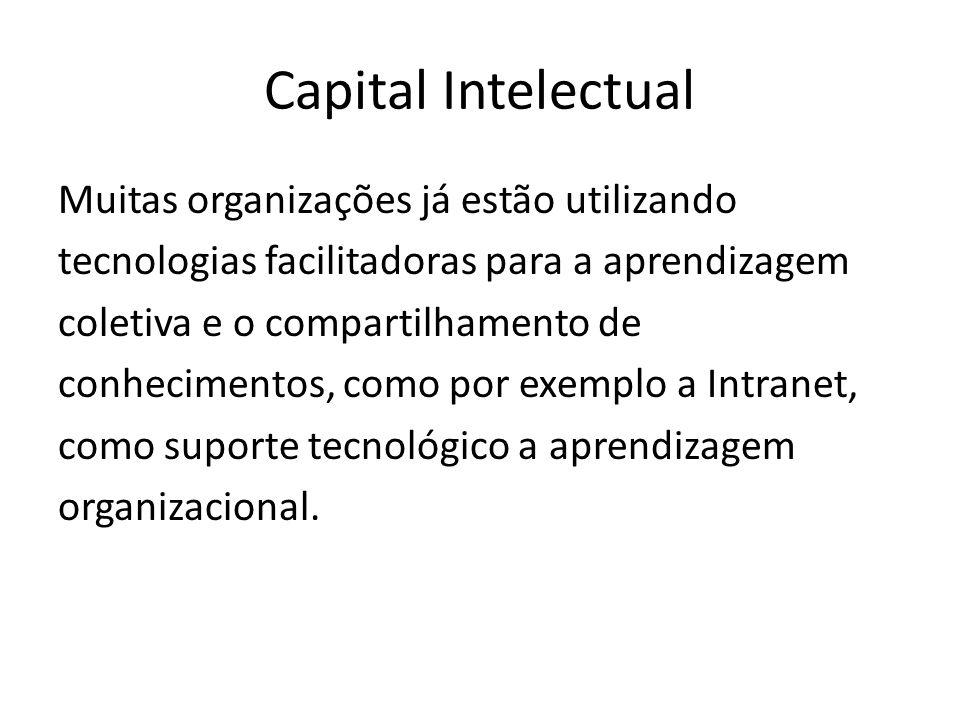 Capital Intelectual Muitas organizações já estão utilizando tecnologias facilitadoras para a aprendizagem coletiva e o compartilhamento de conhecimentos, como por exemplo a Intranet, como suporte tecnológico a aprendizagem organizacional.