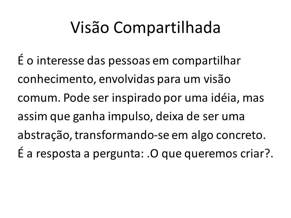 Visão Compartilhada É o interesse das pessoas em compartilhar conhecimento, envolvidas para um visão comum.
