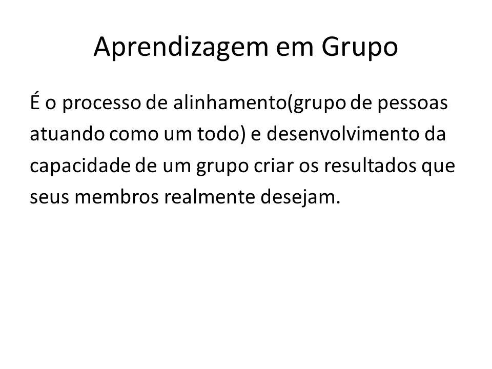 Aprendizagem em Grupo É o processo de alinhamento(grupo de pessoas atuando como um todo) e desenvolvimento da capacidade de um grupo criar os resultados que seus membros realmente desejam.