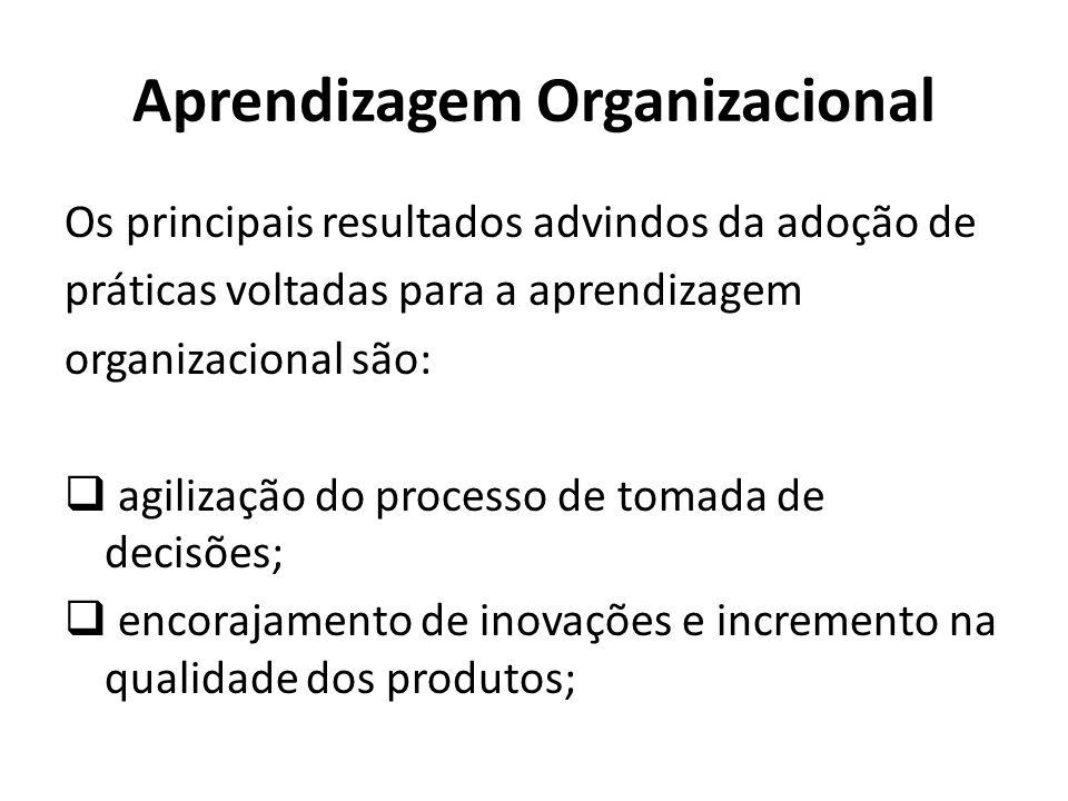 Aprendizagem Organizacional Os principais resultados advindos da adoção de práticas voltadas para a aprendizagem organizacional são: agilização do processo de tomada de decisões; encorajamento de inovações e incremento na qualidade dos produtos;